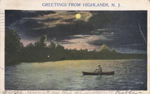 HIGHLANDS, New Jersey, PU-1934; Night Scene At The River