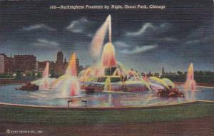 Illinois Chicago Buckingham Fountain By Night 1945 Curteich
