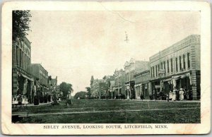 1910 LITCHFIELD, Minnesota Postcard SIBLEY AVENUE, Looking South Downtown