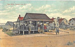 Pleasant View RI Post Office & Store Busy Scene Postcard