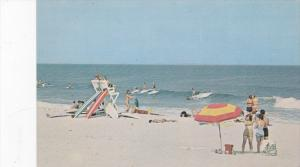 Surfing Scene , TOMS RIVER , New Jersey , 50-60s ; Life Guard station at surf...