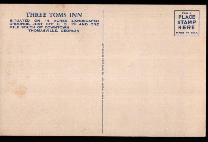Thomasville GA Three Toms Inn Rt 19 Postcard B02
