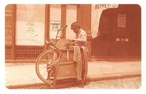 Italian Curbside Knife Grinder, bicycles, push carts Shop 1892 Nostalgia Reprint
