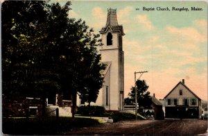 Baptist Church dirt road Rangeley Maine vintage Postcard