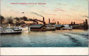 Toronto Harbour Yonge St. Whaves Ontario ON Ont Wharves Unused Postcard D42