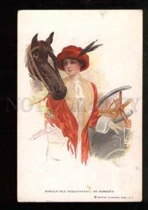 026004 Lady near CAR & HORSE by LICHTMAN Vintage R&N #222