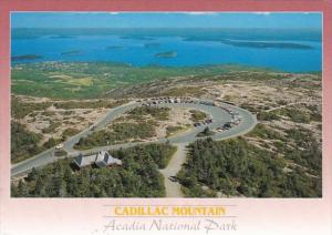 Maine Acadia National Park Cadillac Mountain Aerial View Showing Summit