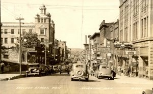 MI - Houghton. Sheldon Street, West, 1930's   RPPC   (crease)