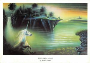 Giant Size Gothic Unicorn Art Postcard THE DREAMING 1989 by Andrew Forrest OS204