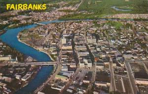 Alaska Fairbanks Aerial View Of Downtown and Chena River