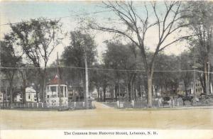Lebanon New Hampshire~Common from Hanover Street~Gazebo~Horse Carriages~c1910