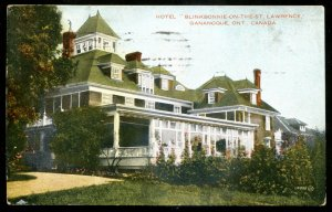 dc131 - GANANOQUE Ontario Postcard 1931 Hotel Blinkbonnie on the St. Lawrence