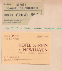 Hotel De Rhin Et Newhaven Receipts 1955 Restaurant Card & Ticket 3x Ephemera