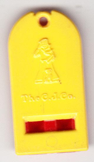 Plastic Cracker Jack Whistle Red & Yellow