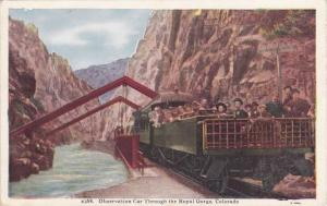 Observation Car on Denver and Rio Grande Railroad - Royal Gorge CO Colorado - WB