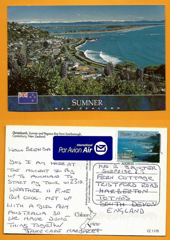 NEW ZEALAND POSTCARD-STAMP-CHRISTCHURCH-SUMMER -PEGASUS BAY