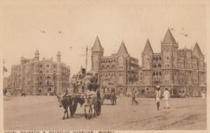 BOMBAY, India, 00-10s; Hotel Majestic & Waterloo Mansions, Ox-drawn cart