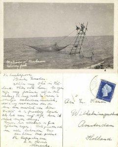 indonesia, CELEBES SULAWESI MAKASSAR, Natives catching Fish (1948) RPPC Postcard