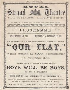 Our Flat Boys Will Be Boys London Comedy Strand Victorian Theatre Programme