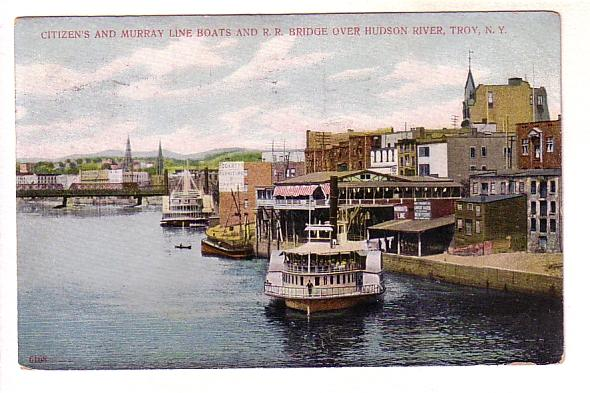 Citizen and Murray Line Boats, Railroad Bridge, Hudson River, Troy, New York,...