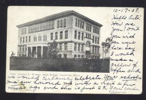 IRONWOOD MICHIGAN LUTHER L. WRIGHT HIGH SCHOOL VINTAGE POSTCARD MICH.