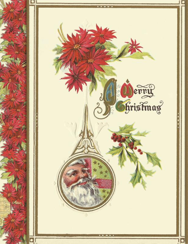 Traditional Christmas Postcard Set of 12, Santa Clause in Dew Drop