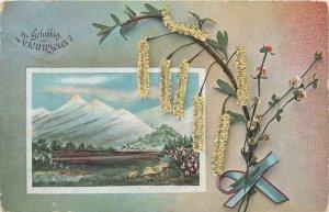 Postcard greetings winter landscape flower field Gelukkig Niewjaar