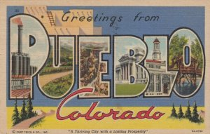 Large Letter Greetings from PUEBLO , Colorado, 30-40s