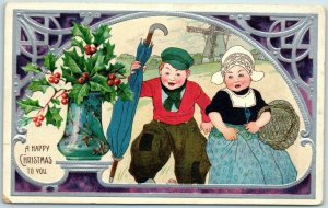 1907 Embossed Postcard Angry-Looking Dutch Boy & Girl A HAPPY CHRISTMAS TO YOU!