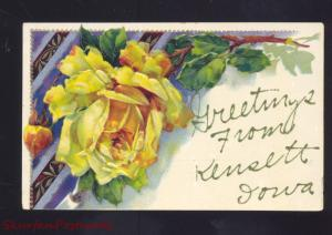 GREETINGS FROM KENSETT IOWA YELLOW ROSE ANTIQUE VINTAGE POSTCARD ROSLIEN