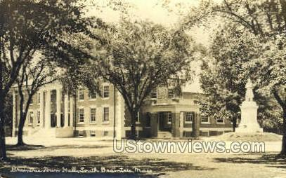 Real Photo - Braintree Town Hall South Braintree MA Missing stamp postal used
