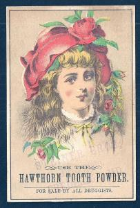 VICTORIAN TRADE CARD Hawthorn Tooth Powder