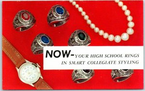 Vintage Chrome Advertising Postcard SCHOOL RINGS College-Type Collegiate 1950s