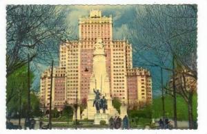Madrid, Spain, Monument of Cervantes and Espana building, 30-50s