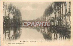 Postcard Melun Old Stone Bridge (Bridge seen from Almont)