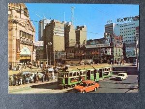 Flinders & Swanston Streets Melbourne Australia Chrome Postcard H1207083752