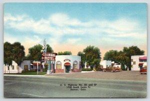 Denver Colorado~Columbine Motel~Office Building~Classic Cars~1940s Roadside