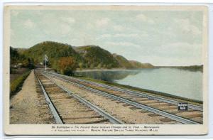 Burlington Route Chicago Minneapolis Railroad Track 1910c postcard