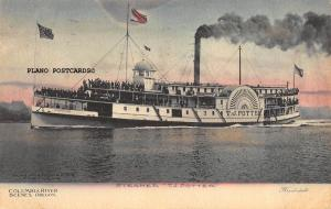 COLUMBIA RIVER, OREGON STEAMER T.J. POTTER HAND-COLORED 1908