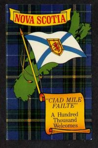 NS  NOVA SCOTIA Postcard PC Tartan Flag Map Canada