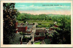1930s GALENA Illinois Postcard Bird's-Eye View w/ GRANT'S PARK - Kropp Unused