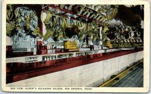 San Antonio, Texas Postcard Bar View, Albert's Buckhorn Saloon c1930s Unused