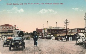 Old Orchard Beach ME Street Scene Policeman Horse & Wagons Postcard