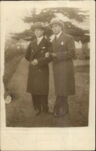 Men Overcoats Hats Ties Arm-in-Arm Gay LGBT Interest c1915 Real Photo Postcard