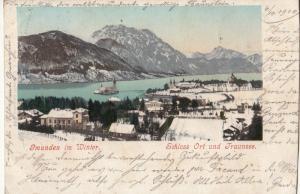 AK 1900 Gmunden in Winter Austria Schloss Ort Castle und Traunsee panorama
