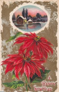 A Happy New Year, 1900-10s; Poinsettias and house scene