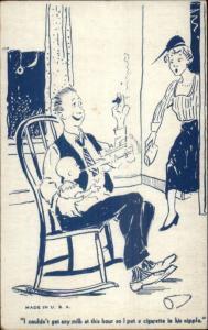 Father Babysitting Has Baby Smoking Cigarette Arcade/Mutoscope Card