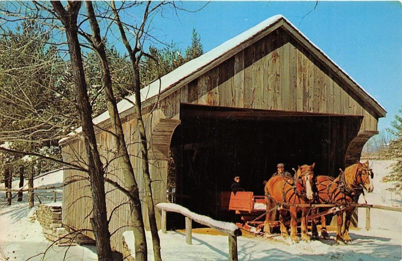 Dummerston Vermont~Covered Bridge over Mill Pond~Horse Sleigh~1950s Postcard