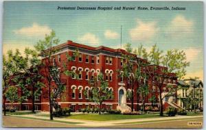 Evansville, IN Postcard Protestant Deaconess Hospital & Nurses' Home Linen