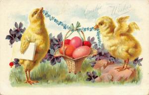 Easter Fantasy~Chick w/ Newspaper Under Wing~Colored Egg Basket~Emboss~TUCK